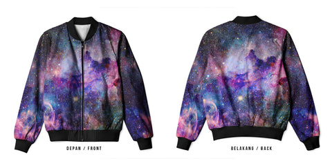 Galaxy Art 13 3D Digital Printed Men's Bomber Jacket Sublimation sizes: S to 3XL