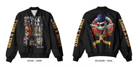 New Fans Guns N' Roses Art 3 3D Digital Printed Men's Bomber Jacket Sublimation sizes: S to 3XL