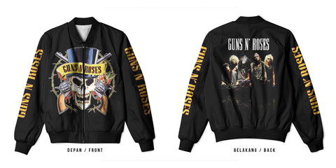 New Fans Guns N' Roses Art 2 3D Digital Printed Men's Bomber Jacket Sublimation sizes: S to 3XL