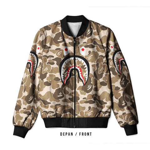 A Bathing Ape Shark Brown 3D Digital Printed Men's Bomber Jacket Sublimation sizes: S to 3XL