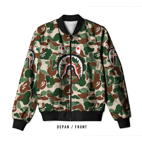 A Bathing Ape Shark Dark Green 3D Digital Printed Men's Bomber Jacket Sublimation sizes: S to 3XL