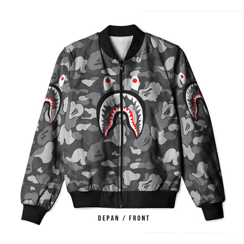 A Bathing Ape Shark Dark Grey 3D Digital Printed Men's Bomber Jacket Sublimation sizes: S to 3XL