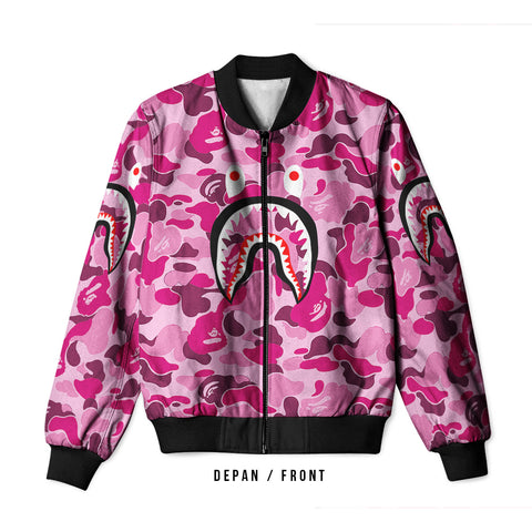A Bathing Ape Shark Dark Pink 3D Digital Printed Men's Bomber Jacket Sublimation sizes: S to 3XL