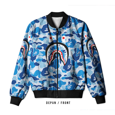 A Bathing Ape Shark Blue Color 3D Digital Printed Men's Bomber Jacket Sublimation sizes: S to 3XL