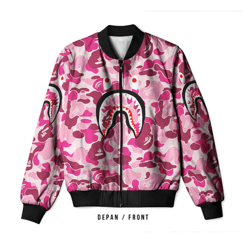 A Bathing Ape Shark Light Pink 3D Digital Printed Men's Bomber Jacket Sublimation sizes: S to 3XL