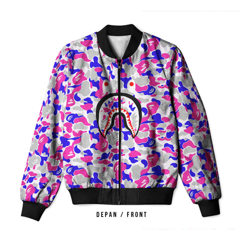 A Bathing Ape Shark Art 4 3D Digital Printed Men's Bomber Jacket Sublimation sizes: S to 3XL