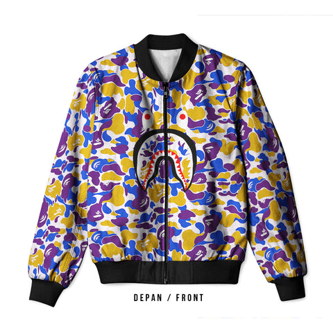 A Bathing Ape Shark Art 3 3D Digital Printed Men's Bomber Jacket Sublimation sizes: S to 3XL