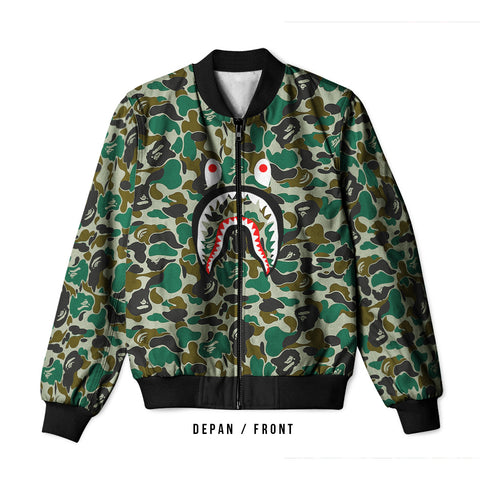 A Bathing Ape Shark Art 2 3D Digital Printed Men's Bomber Jacket Sublimation sizes: S to 3XL