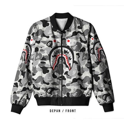 A Bathing Ape Shark Light Grey 3D Digital Printed Men's Bomber Jacket Sublimation sizes: S to 3XL