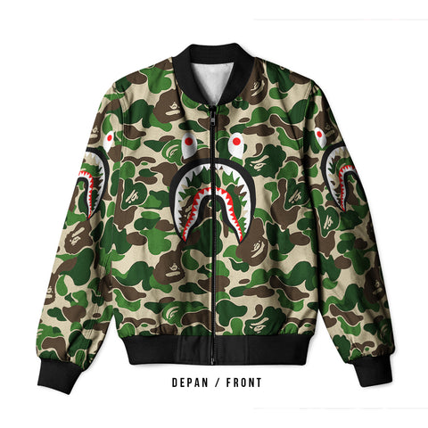 A Bathing Ape Shark Light Green 3D Digital Printed Men's Bomber Jacket Sublimation sizes: S to 3XL