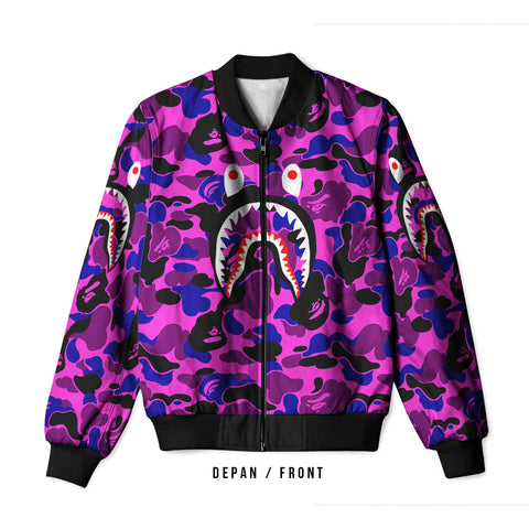 A Bathing Ape Shark Purple 3D Digital Printed Men's Bomber Jacket Sublimation sizes: S to 3XL