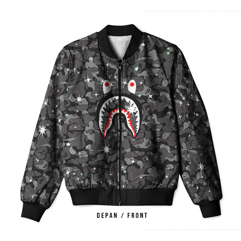 A Bathing Ape Shark Space 3D Digital Printed Men's Bomber Jacket Sublimation sizes: S to 3XL