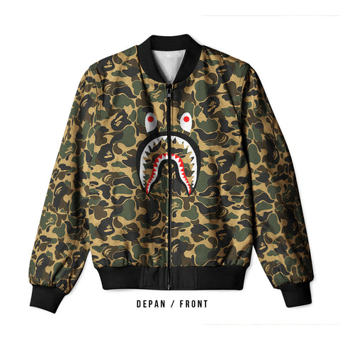 A Bathing Ape Shark Art 1 3D Digital Printed Men's Bomber Jacket Sublimation sizes: S to 3XL