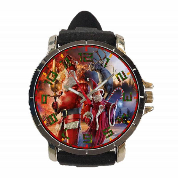 Hot New Design CHRISTMAS Art 15 Custom Sport Wristwatch Sport Big Face Rubber Band