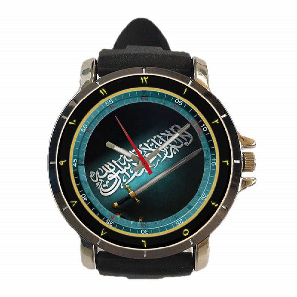 Hot New Design MOSLEM Art 21 Custom Sport Wristwatch Sport Big Face Rubber Band