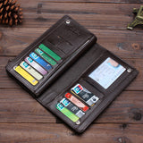 Men's Long Leather Bifold ID Card Holder Clutch Wallet Purse Checkbook Handbag