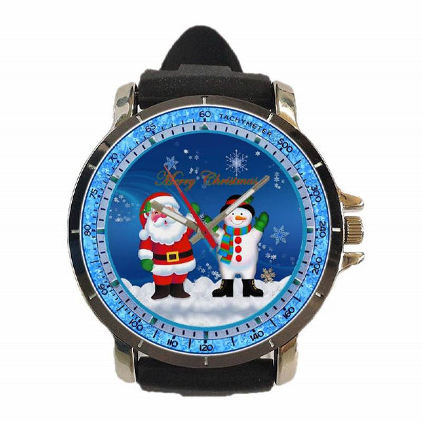 Hot New Design CHRISTMAS Art 3 Custom Sport Wristwatch Sport Big Face Rubber Band