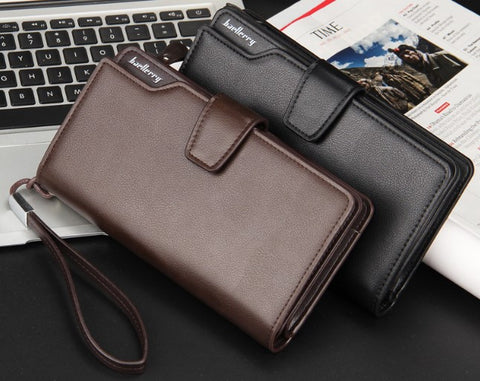 Baellerry Men Business Leather Long Wallet Clutch Purse Bag ID Credit SIM Card Holder