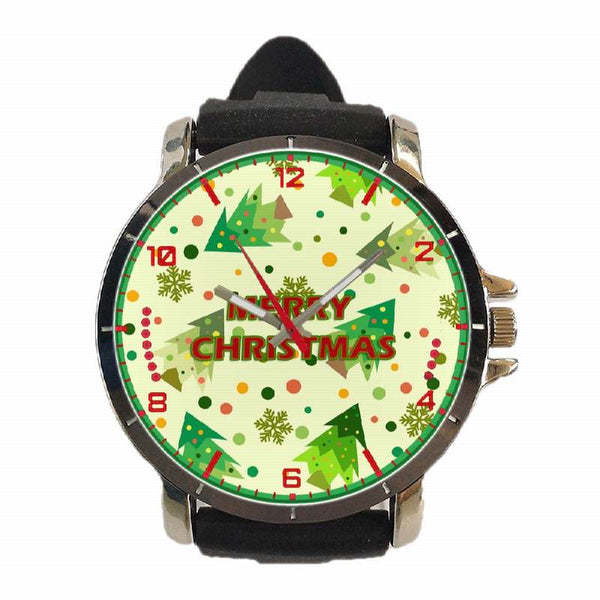 Hot New Design CHRISTMAS Art 8 Custom Sport Wristwatch Sport Big Face Rubber Band