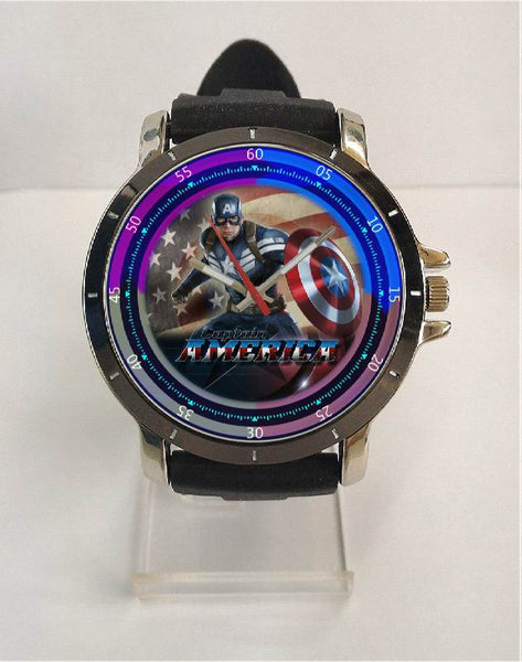 Hot New Design CAPTAIN AMERICA Art 4 Custom Sport Wristwatch Sport Big Face Rubber Band