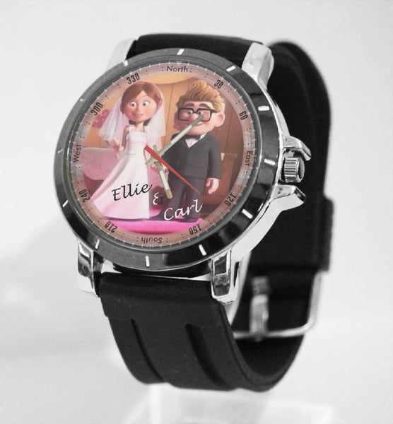 Hot New Design ELLIE & CARL Art 3 Custom Sport Wristwatch Sport Big Face Rubber Band