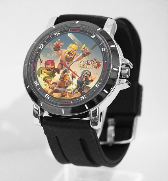 Hot New Design CLASH OF CLANS Art 2 Custom Sport Wristwatch Sport Big Face Rubber Band