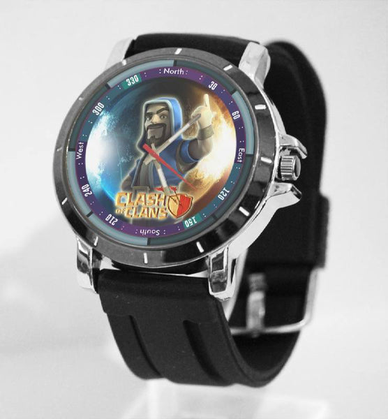 Hot New Design CLASH OF CLANS Art 3 Custom Sport Wristwatch Sport Big Face Rubber Band