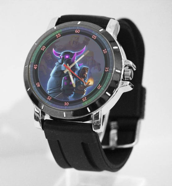 Hot New Design CLASH OF CLANS Art 5 Custom Sport Wristwatch Sport Big Face Rubber Band