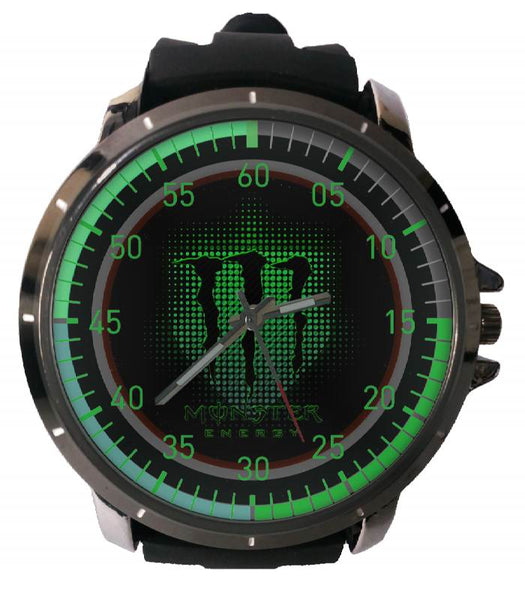 Hot New Design MONSTER ENERGY Art 3 Custom Sport Wristwatch Sport Big Face Rubber Band