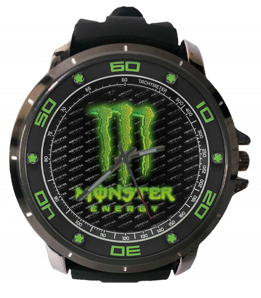 Hot New Design MONSTER ENERGY Art 4 Custom Sport Wristwatch Sport Big Face Rubber Band