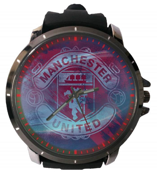 Hot New Design MANCHESTER UNITED Art 2 Custom Sport Wristwatch Sport Big Face Rubber Band