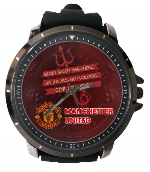 Hot New Design MANCHESTER UNITED Art 5 Custom Sport Wristwatch Sport Big Face Rubber Band