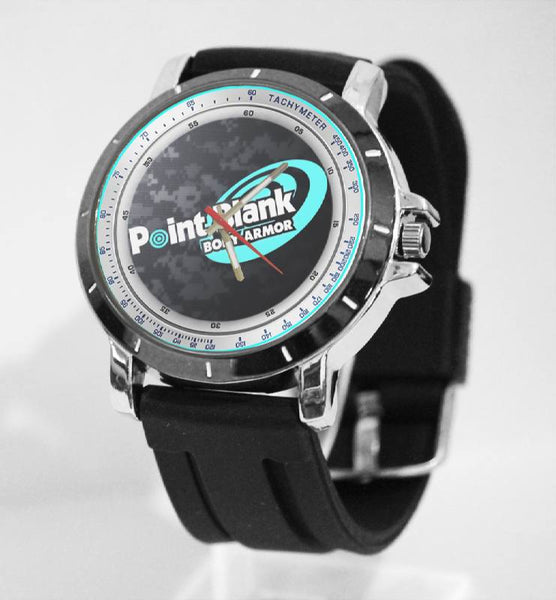 Hot New Design POINT BLANK Art 2 Custom Sport Wristwatch Sport Big Face Rubber Band