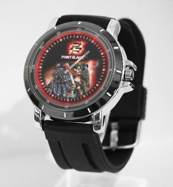 Hot New Design POINT BLANK Art 3 Custom Sport Wristwatch Sport Big Face Rubber Band