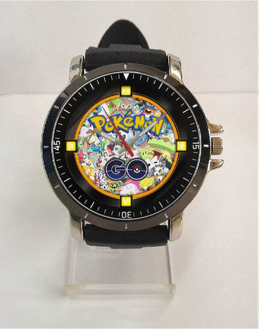Hot New Design POKEMON GO Art 2 Custom Sport Wristwatch Sport Big Face Rubber Band