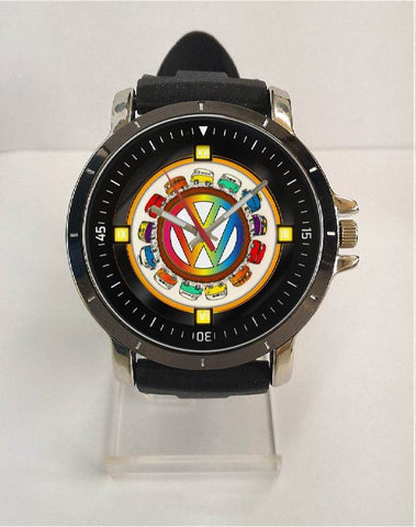 Hot New Design VW Art 1 Custom Sport Wristwatch Sport Big Face Rubber Band