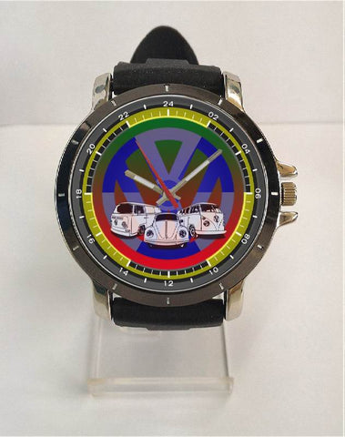 Hot New Design VW Art 2 Custom Sport Wristwatch Sport Big Face Rubber Band