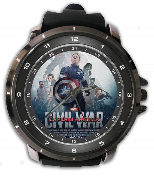 Hot New Design CIVIL WAR Art 3 Custom Sport Wristwatch Sport Big Face Rubber Band