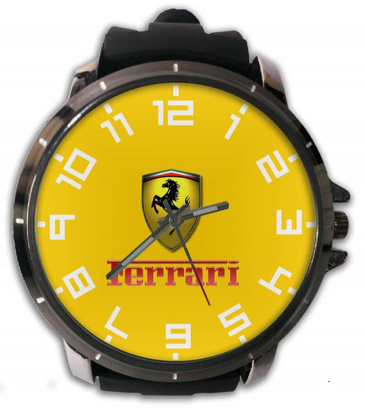 Hot New Design FERRARI Art 5 Custom Sport Wristwatch Sport Big Face Rubber Band