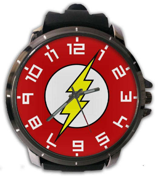 Hot New Design THE FLASH Art 3 Custom Sport Wristwatch Sport Big Face Rubber Band