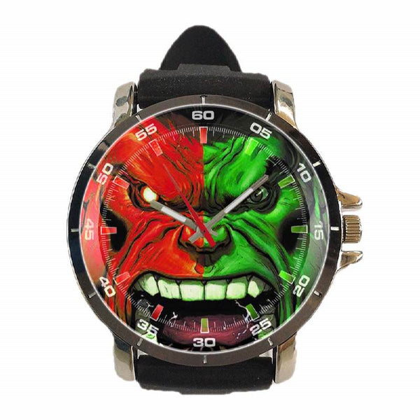 Hot New Design SUPERHERO Art 1 Custom Sport Wristwatch Sport Big Face Rubber Band