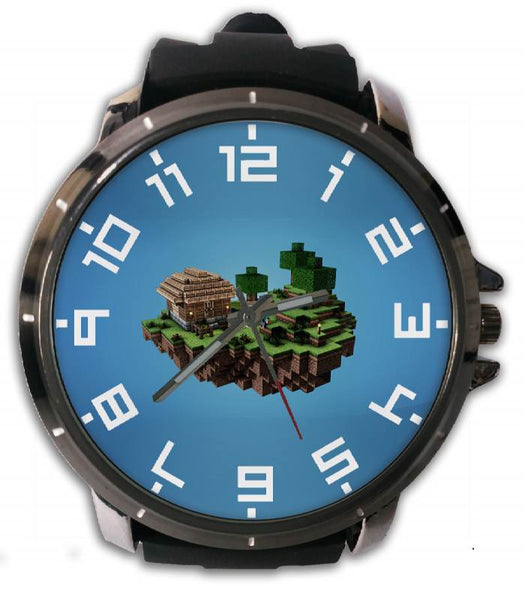 Hot New Design MINECRAFT Art 5 Custom Sport Wristwatch Sport Big Face Rubber Band