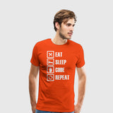 Men's Premium T-Shirt Eat Sleep code repeat