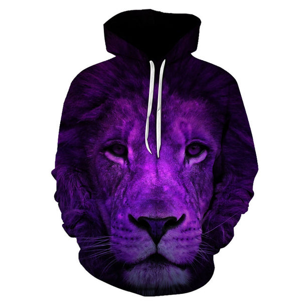 Purple Lion King 3D Sweatshirts Men Women PullOver Hooded