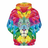 Colorful Lion 3D Printed Men Women PullOver Hoodies