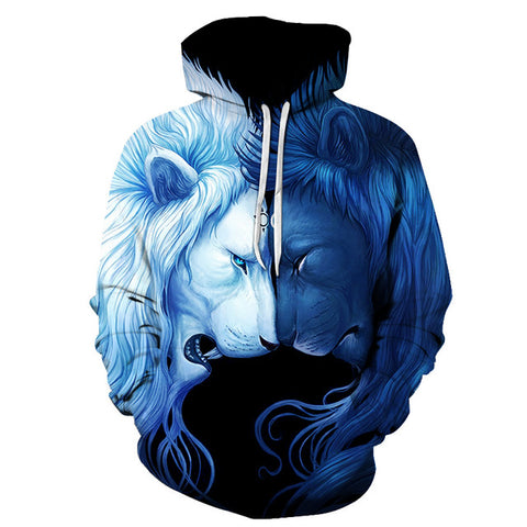 Day Night Lion 3D Full Print Sublimation Men Women PullOver Hoodie