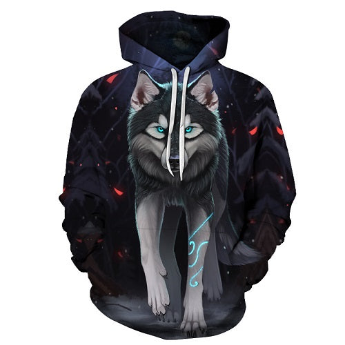 3D Hoodies Wolf Printed Sweatshirts Men Women Pullover Unisex Size S To 6XL