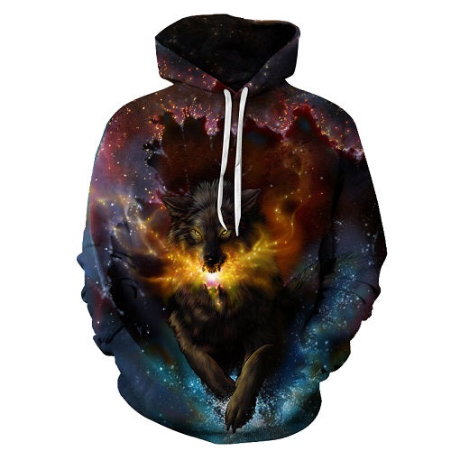 Galaxy WOLF Printed Men Women Hoodies sublimation PullOver Size S To 6XL