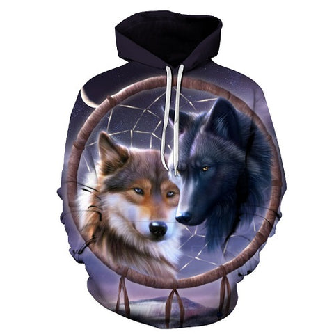 Dreamcatcher Wolf 3d Fullprint Hoodies Men Women Pullove