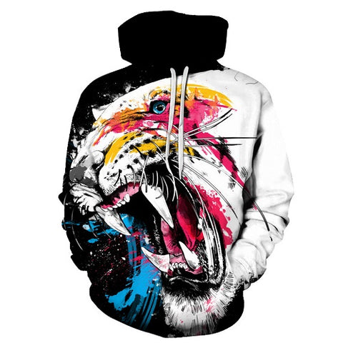 Colorful Tiger Hoodies Men Women 3D Full Print Sublimatian PullOver Hoodie